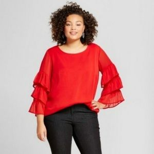 Red Scoop Neck Ruffled 3/4 Sleeve Blouse.